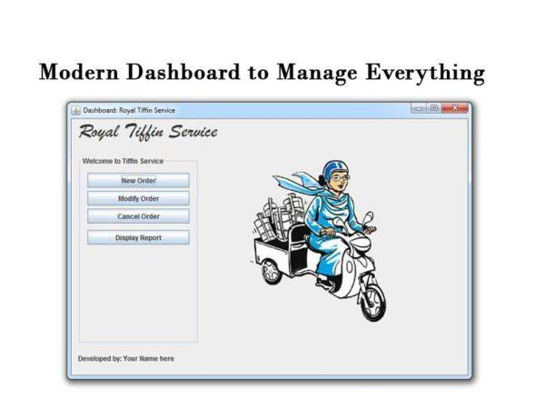 tiffin booking system dashboard