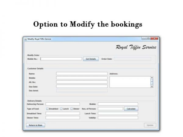 tiffin booking system modify